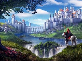 Собирать пазл The castle on the waterfall онлайн