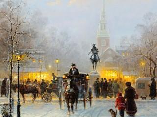 Собирать пазл Winter in the city онлайн